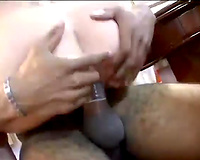 Hussy jade with large whoppers rides large dark jock in reverse cowgirl position