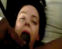 Pallid white trash brunette hair bitch was engulfing powerful BBC for ball batter