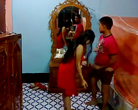 Sexy lengthy haired dark brown in red stuff sucks rock hard wang of her BF