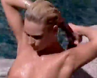 Amazing fuckfest sex by the pool outside on livecam with sexy blondes