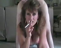Dirty aged wench with large milk cans smoking whilst I shag her doggy style