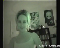 Kinky blond GF gives deepthroat oral job on night vision livecam