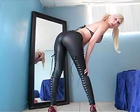 Incredible golden-haired milf in constricted dark pants on web camera