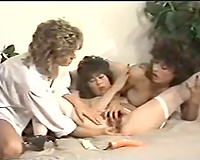 Cute 3some of vintage strumpets on the ottoman trying anal penetration