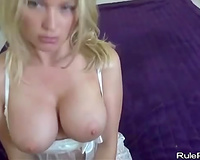 Gagging golden-haired with ideal milk shakes screwed in POV