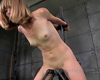 Slim golden-haired hottie with enormous clamps on her teats acquires her fur pie toyed
