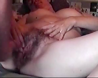 Cumming on my lusty wife's large shaggy wide open snatch