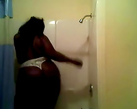 Fine homemade solo with my ebony ex GF taking a shower