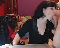 Short haired cheerful brunette hair floozy sucks her man's schlong on web camera