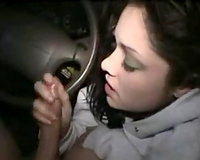 Hot legal age teenager girlfriend blows me well in my car near her abode