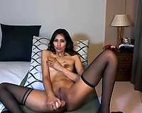 Exotic brunette hair milf fingers her cunt in homemade solo