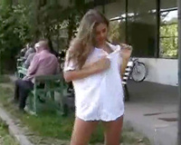 My shameless queen flashes her curvy bare body on public