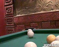 Busty and hawt white slutty wife sucks dick and copulates on the pool table