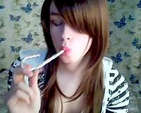 Barely legal ginger haired sheboy masturbates for me on livecam