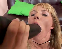 Insatiable blondie in fishnet nylons gapes her holes