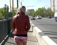 Chubby faced golden-haired Russian sweetheart in pink panties voids urine