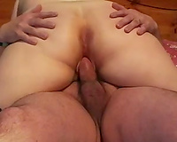 Chunky white milf housewife romping on my ramrod in sofa