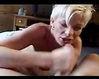 Mature blonde housewife wanking my knob with a enjoyment and greed
