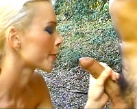 Sexy blond black cock sluts desires to eat cum after outdoor anal sex
