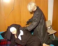 Lesbian femdom joy with 2 limber hardly breathing grannies