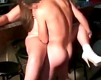 Chubby large breasted black cock slut was nailed by my buddy on the bar chair