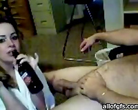 Trashy wench smokes and drinks beer whilst blowing my weenie