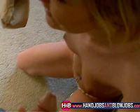 Exquisite sassy blond legal age teenager girlfriend blows pecker on her knees