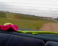 Skinny flat chested dilettante lesbian babes used some toys for car masturbation