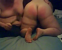 This plump bitch's a-hole receives whipped by me on the daybed