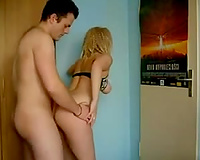 Blonde slut's large mounds jump up and down as I fuck her vag from behind