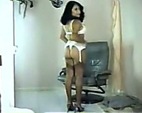 Cute brunette hair non-professional Indian stripper exposing on web camera