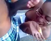 Four eyed swarthy sweetheart doesn't mind engulfing a weenie in public
