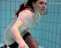 Adorable redhead Russian horny white wife in nylons and underware