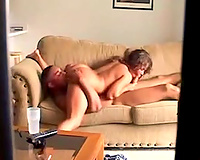 Lewd black haired recent young slutty wife of my buddy likes engulfing him in 69 pose