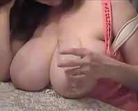 Boobalicious mom serves her large natural wobblers for dinner