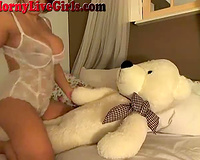 Huge breasted livecam wife is ridding her teddy bear for your fun