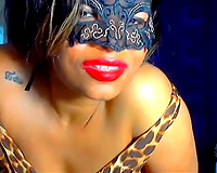 Sweet and sultry black skin wife in the mask teases me