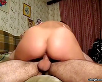 Exotic indecent brunette with worthy ass in home video