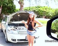 Ebony teen bangs large jock in the car in public
