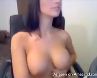 Hot dark brown with awesome large mangos undressed on the livecam
