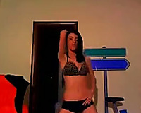 Sizzling dark brown ally dancing seductively during the time that on cam session with me