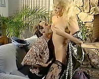 Moustached brunette hair guy wants to gangbang this blond hottie