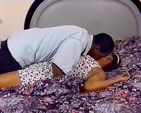 Ebony ratchet can't live without when BF eats her trickling moist shaggy pussy