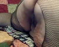 Ugly SSBBW granny in fishnet pantyhose plays with marital-device on cam