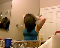 Beautiful and hawt amateur brunette hair playgirl in the bathroom