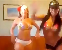 Three lascivious sluts shaking their booties in perverted web camera session
