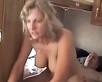 Wondrous aged corpulent blond slutwife rides her hubby's cock in cowgirl pose