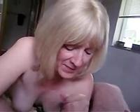Short haired older blond nympho works on my rock hard bulky ramrod