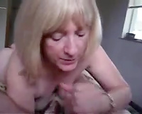 Short haired older blond nympho works on my rock hard bulky ramrod
