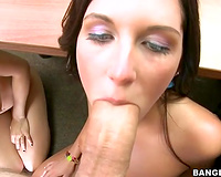 Two non-professional sluts have a fun engulfing one biggest thick shlong in office